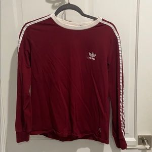 Adidas red with white stripe long sleeve